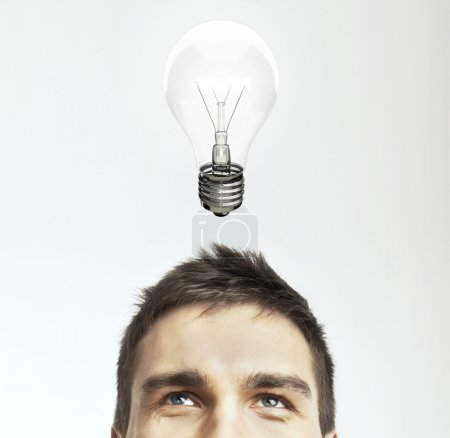 Photo for Man with lamp, idea concept - Royalty Free Image