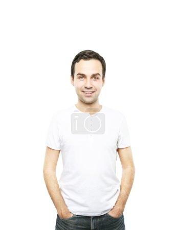 Foto de Hombre de camiseta en un fondo blanco - Imagen libre de derechos
