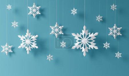 Foto de Copos de nieve de alta definición sobre fondo azul - Imagen libre de derechos