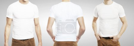 Photo for Three guy in T-shirt on a white background - Royalty Free Image