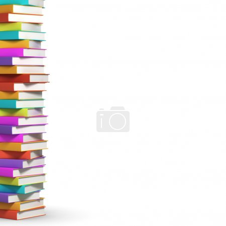 Photo for Stack of colorful books on white background - Royalty Free Image