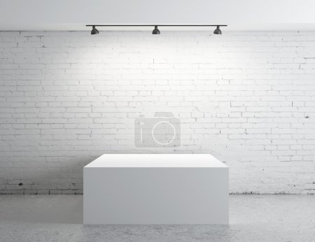 Photo for Brick concrete room with box presentation - Royalty Free Image