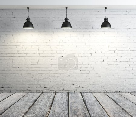 Photo for Concrete room with three ceiling lamps - Royalty Free Image