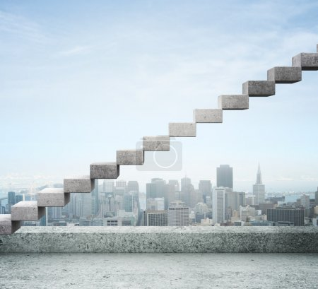 Photo for Career stair against background of city - Royalty Free Image