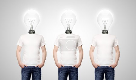 Photo for Three man with lamp-head on white background - Royalty Free Image