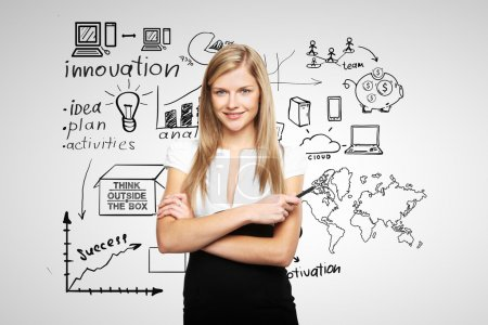 Photo for Young businesswoman and business plan - Royalty Free Image