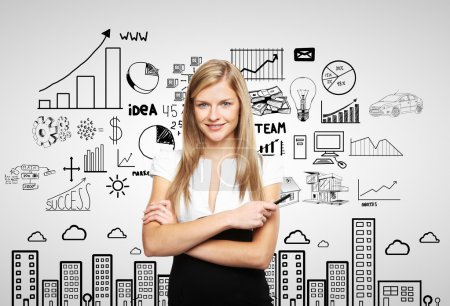 Photo for Businesswoman and plan business strategy - Royalty Free Image