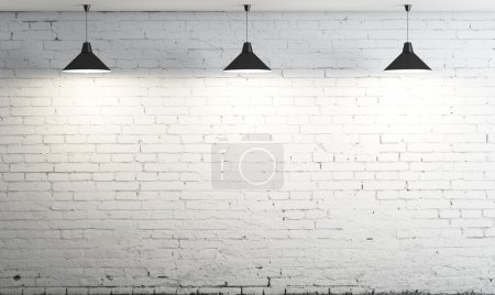 Photo for Brick wall and three ceiling lamp - Royalty Free Image