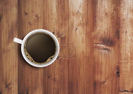 Photo for Coffee cup on wooden table - Royalty Free Image