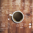 Coffee cup and business strategy on wooden table...
