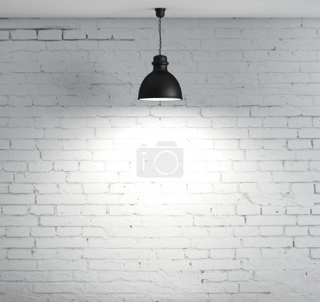 Photo for Brick wall and ceiling lamp - Royalty Free Image