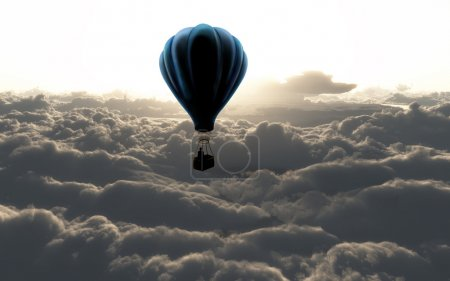 Photo for Air baloon on sky with beautifull clouds - Royalty Free Image