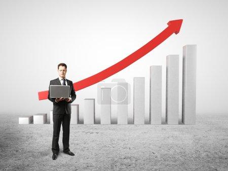 man and chart profits