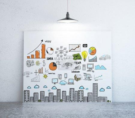 Photo pour Affiche avec concept d'entreprise sur le mur - image libre de droit