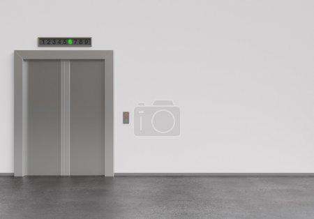 Modern elevator with closed doors, 3d render...