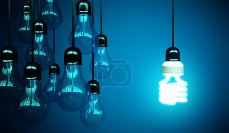 lightbulbs on blue