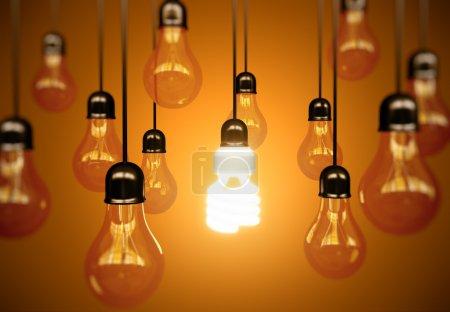 Lightbulbs on yellow