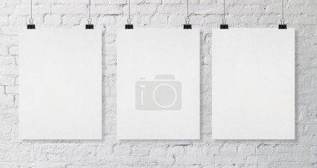 Photo for Brick wall with three blank poster - Royalty Free Image
