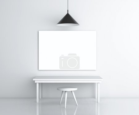 Photo pour Chambre avec mobilier et affiche vierge sur le mur - image libre de droit
