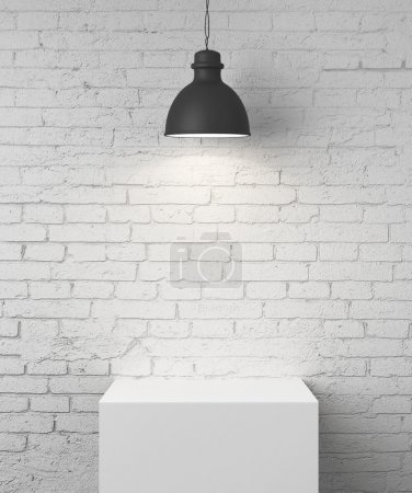 Photo for White brick room with podium and lamp - Royalty Free Image