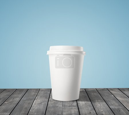 Photo for Cup of coffee on wood table - Royalty Free Image