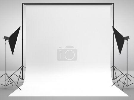 Photo for Photography studio with a light set-up and backdrop - Royalty Free Image
