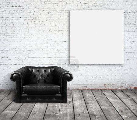 Photo for Sofa in room and poster on wall - Royalty Free Image