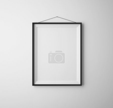 Photo for Black frames on white concrete wall - Royalty Free Image