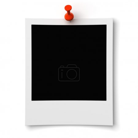 Photo for Blank photo pinned on wall on a white background - Royalty Free Image