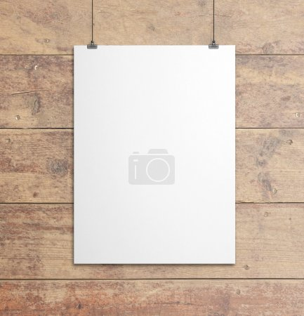 Photo for White paper clips and wood background - Royalty Free Image
