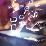Hand touching digital tablet, social media concept...