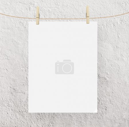 Photo for Blank paper clips and concrete background - Royalty Free Image