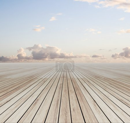 Photo for Wooden floor and blue sky - Royalty Free Image