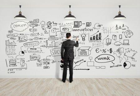 Photo pour Business concept de dessin d'homme d'affaires sur mur blanc - image libre de droit