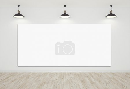 Photo for Room with laminate floor and blank cardboard - Royalty Free Image