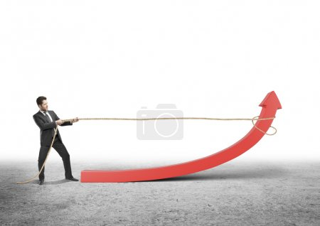 man pulling arrow