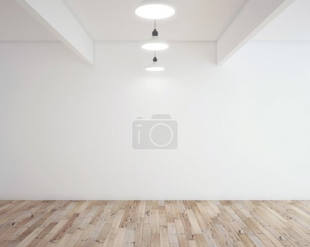 Photo for Wooden parquet in room and lamp - Royalty Free Image