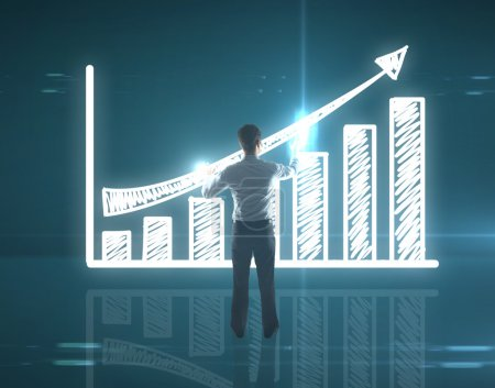Photo for Businessman touching graph on interface - Royalty Free Image