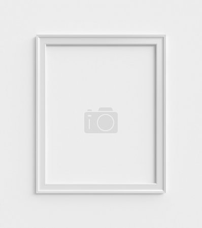Photo for Wood frame on a white wall - Royalty Free Image