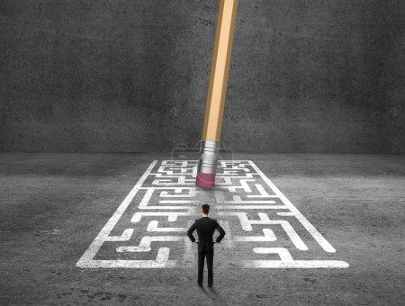 man looking at maze