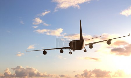 Photo for Large passenger plane flying in the blue sky - Royalty Free Image