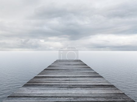 Photo for Wooden pier at a cloudy day - Royalty Free Image