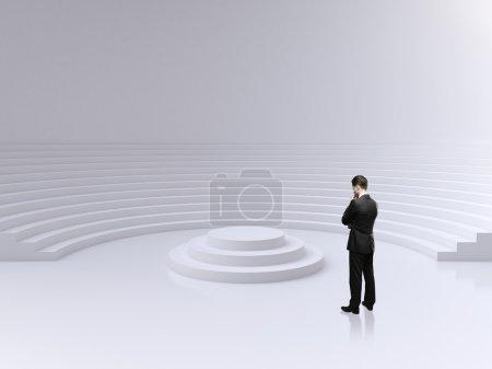man lookig on podium