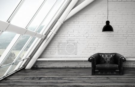 Photo for Loft with window and black leather chair - Royalty Free Image