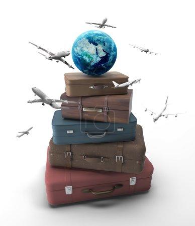 Photo pour Sacs de voyage avec terre et avions - image libre de droit