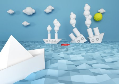 abstract paper battle ship