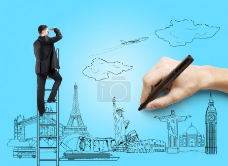 Photo pour Dessin à la main sur papier bleu homme d'affaires, concept de voyage - image libre de droit