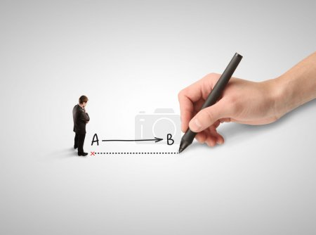 Photo for Businessman thinking and hand drawing route - Royalty Free Image