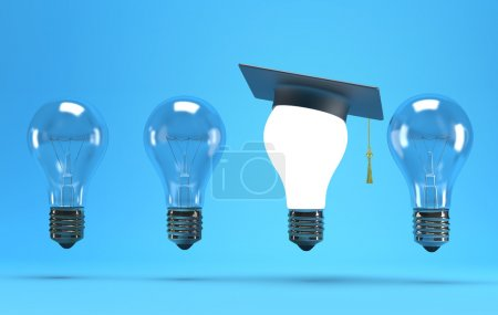 Photo for Lightbulb with graduation hat on a blue background - Royalty Free Image