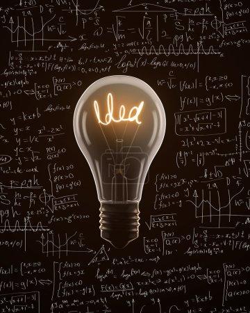 Photo pour Ampoule isolée sur fond de formule mathématique - image libre de droit